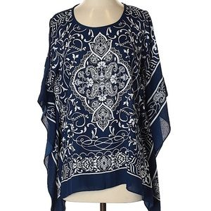 Susan Graver Navy Poncho with armholes